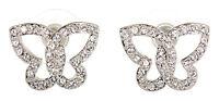Swarovski Elements Crystal Butterfly Pierced Earrings Rhodium Authentic 7112w