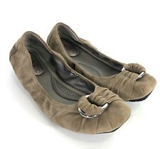 Me Too SPACE size 6.5 Brown Suede Scrunch Ballet Flats WORN ONCE