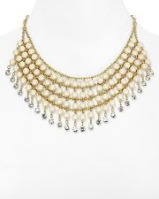 NEW CAROLEE 'Tea Cup Florals' Glass Pearl Gold-Tone Bib Choker Necklace