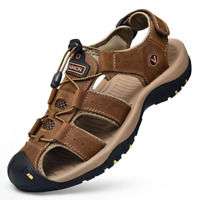 Men's Summer Hiking Leather Sandals Casual Breathable Closed Toe Fisherman Shoes