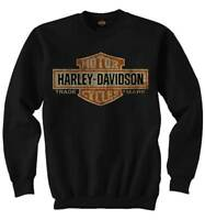 Harley-Davidson Mens Elongated Bar & Shield Crew Neck Pullover Sweatshirt, Black
