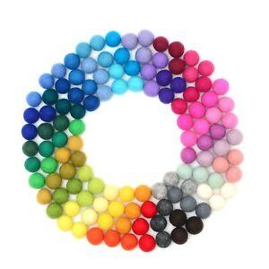 Glaciart One Felt Pom Poms, Wool Felt Balls (120 Pcs) 0.8 Inch (2 cm), 40 Colors