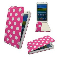 CASE FOR SAMSUNG GALAXY S5 PINK WHITE POLKA DOT STYLE LEATHER FLIP POUCH COVER