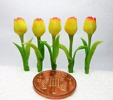 1:12 Scale 5 YellowTulips Flowers  Handmade Polymer Clay Dolls House Miniature