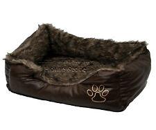 LARGE Soft Comfy REX LEATHER & FUR Washable Dog Pet Cat Warm Basket Bed D BROWN