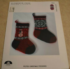 Felted Christmas Stockings hand knitting pattern Plymouth Yarn P516 snowman