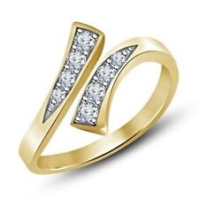 White Sim. Diamond 10k Yellow Gold Gp 925 Silver Ladies Toe Bypass Ring For Gift