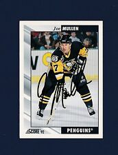 Joe Mullen signed Pittsburgh Penquins 1992 Score hockey card
