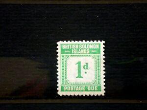 British Solomon Islands 1940 SGD1 Postage Due 1d Emerald Green MVLH. (B2936)