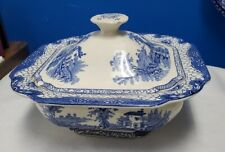 ADAMS Englad LANDSCAPE BLUE & WHITE Square Covered Serving Bowl, lid chips