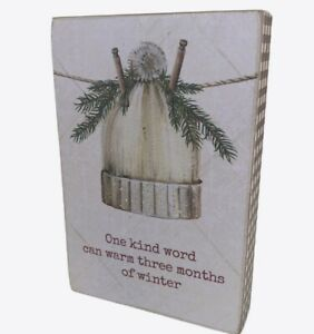 """Primitives by Kathy """"One Kind Word Can Warm Winter"""" Box Sign Winter Christmas De"""