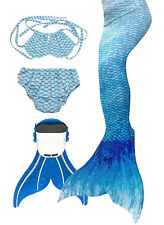 Kids Mermaid Tails for Swimming With Monofin blue size 110/120/130/140