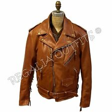Mens Classic Brando Western Fringe Genuine Motorcycle Biker Leather Jacket