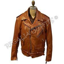 Mens Classic Brando Western Fringe Genuine Motorcycle Biker Leather Jacket