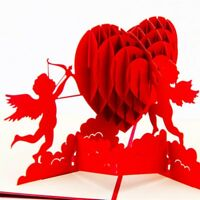 3D Love Heart Up Cupid Handmade Greeting Card Kirigami Anniversary Low Price
