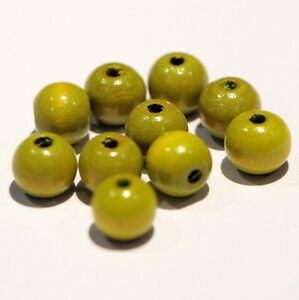 Wooden Beads Round Lacquered, Light Olive, 8mm diameter (pack of 10)*
