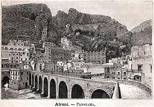 Atrani: Panorama. Costiera Amalfitana.Salerno. Stampa Antica + Passepartout.1891