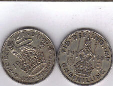 2 OLDER 1 SHILLING COINS from GREAT BRITAIN - BOTH DATING 1948 (2 TYPES)