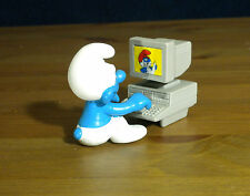 Smurfs 40249 Computer Smurf Desktop Monitor Rare Vintage Figure PVC Toy Figurine