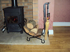BLACK METAL FIREPLACE LOG BASKET WITH POKER,BRUSH ETC. FIRESIDE ACCESSORIES
