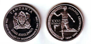 Rare 1996 Tanzania Aluminum 2000 shillings Olympic Runner T1-Mintage 100