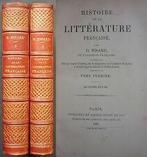 NISARD - HISTOIRE DE LA LITTERATURE FRANÇAISE - 2 T - 1889 FIRMIN DIDOT