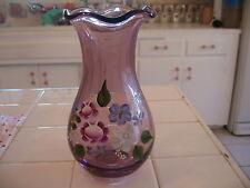 Fenton Art Glass Amethyst Overlay Melon Vase Nib Mint Condition !!!!! Fenton Pottery & Glass