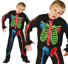 Childrens Skeleton Boy Halloween Fancy Dress Costume Neon Kids Outfit M