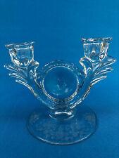 Duncan & Miller Glass Co. candlestick 2-lite #30 Pall Mall, FIRST LOVE c.1930s