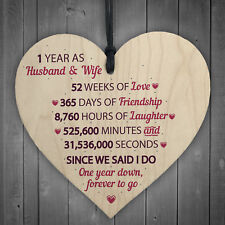 1st Wedding Anniversary Gift Wooden Heart First For Her