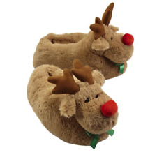 ** LARGE **  SLIPPERS RUDOLPH Red Nosed Reindeer New Adult Unisex Ornament