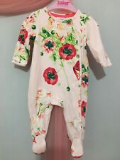 Baby Girls Designer Ted Baker Pink Floral Poppy Lilly Babygrow Sleepsuit 0-3m💕