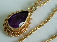 CLASSY 9CT YELLOW GOLD SMALL PEAR SHAPE AMETHYST PENDANT ON CHAIN