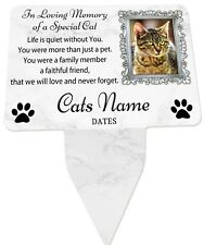 Cat Photo Personalised Memorial Plaque & Stake - Spike Frame, cat, garden grave