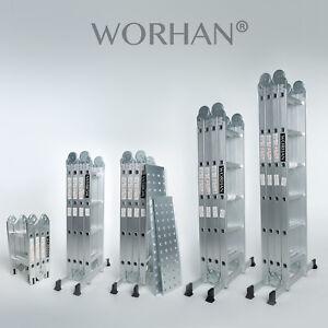 WORHAN® Escalera Multiuso Multifuncional Plegable Tijera Aluminio Gran Selección