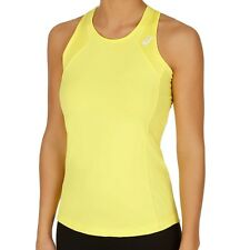 Asics Womens Yellow Athlete Tank Top Training Sport Tennis Vest Tee T Shirt  XL