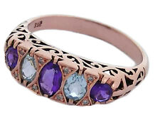 R307 Genuine 9K Rose Gold Natural Amethyst& Topaz Diamond Eternity Ring size N