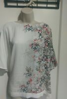 Ladies White Floral Patterened Top Size 22 By The Debenhams Collection #K