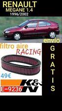 E-9236 K&n Filtro de Aire para Renault Megane i 1.4L L4 F / I 1400 1996/2003