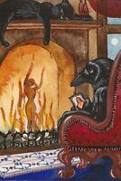 HALLOWEEN POSTCARD PRINT LE 1/200 RYTA BLACK CAT VINTAGE STYLE CROW MEMORY ART