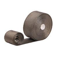 "1 Roll x 2"" Titanium 50ft Manifold  Exhaust Header Heat Wrap Tape + 6 Ties Kit"