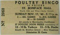 1940 Poultry Bingo Ticket Stub St. Boniface Hall N 11th & W Clarke Milwaukee WI