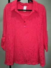 Faded Glory Red Top Blouse Women's 3X 22W-24W