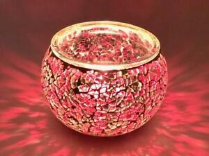 Glass Crackled Moroccan Style Tealight Holder Lantern Candle Lighting Red