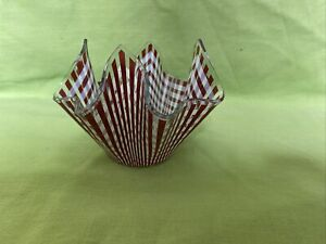 Vintage Glass Handkerchief Vase Red & White Stripes