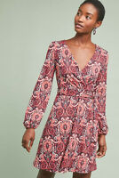 NWT $148 Anthropologie ~ Maeve Paisley Belted Dress Fit-and-flare Sz S Red motif