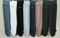 NEW LADIES WOMENS ITALIAN LAGENLOOK DRAWSTRING RUCHED 2 POCKET LINEN TROUSERS