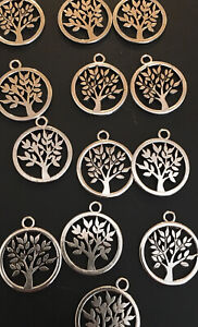 Tree Of Life Round Charms X 10 Silver Tone Pagan Wiccan Jewelly Making Charm
