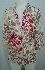 Wombat Ladies Blouse in a White Brown and Red Abstract Pattern Semi-sheer Size S