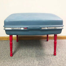 Samsonite Saturn Suitcase Table Blue Red Spindle Legs Midcentury Distressed
